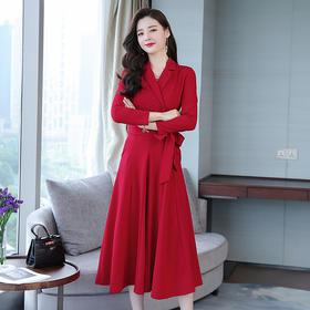 西装领双排扣大摆型口袋绑带连衣裙纯色高腰长袖 CS-YZX6146