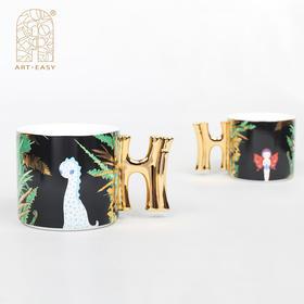 情侣礼品艺术家设计英国骨瓷Hi杯马克杯办公室咖啡杯情侣杯