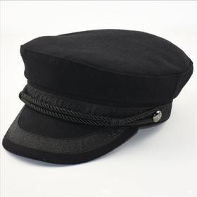 毛呢秋冬海军帽大头围男帽休闲时尚欧版羊毛呢平顶帽
