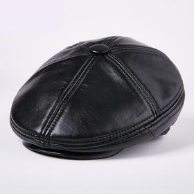 宇鸿金蚂蚁 时尚真皮帽子男士 冬季绵羊皮帽子 男式贝雷帽户外加绒加厚
