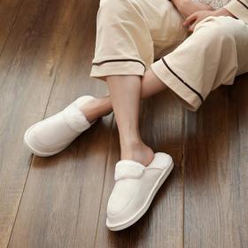 朴西 冬季新款室内情侣棉拖鞋男 居家月子防滑保暖毛毛拖鞋女