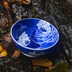 二十四器 手绘青花瓷满彩荷花混水普洱杯功夫茶杯单杯主人杯陶瓷