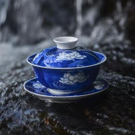 二十四器满彩手绘青花瓷盖碗茶具功夫泡茶杯敬茶碗陶瓷茶具泡茶器