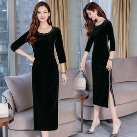 百搭潮流连衣裙简约个性时尚圆领纯色长袖显瘦修身 CQ-KYL8606