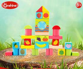 Onshine 木制33粒桶装彩色水果认知积木玩具 儿童益智早教玩具