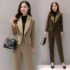毛呢外套长袖长款韩版百搭气质休闲修身时尚潮流两件套 CS-GRS2630