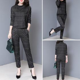 格子条纹长袖圆领套头拼接简约优雅套装时尚舒适 CS-SYG1816-1