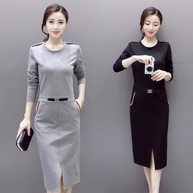 中长款口袋一步裙圆领松紧腰套头纯色连衣裙 CQ-LNS9077-1