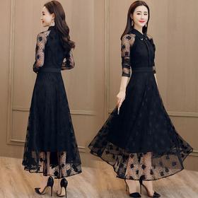 修身显瘦优雅时尚百搭性感潮流甜美花色连衣裙 CS-JYY8802-1