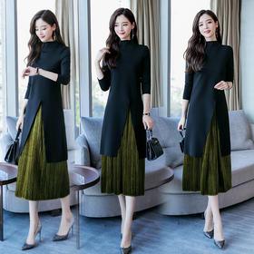 松紧腰两件套七分袖套头立领纯色连衣裙拼接 CS-YTQJ2860-1