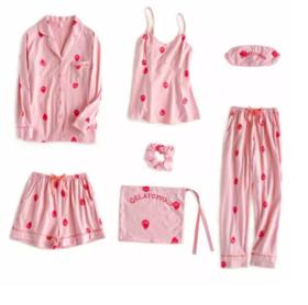 【为思礼】四季可装草莓睡衣7件套纯棉秋冬家居服套装【眼罩、发箍、收纳袋、吊带、长袖上衣,长裤】