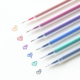磨砂中性笔透明水彩笔0.5mm 签字笔小清新韩国文具 简约男女学生