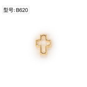 【美甲金属饰品】B620金色镂空十字架弧面弧度