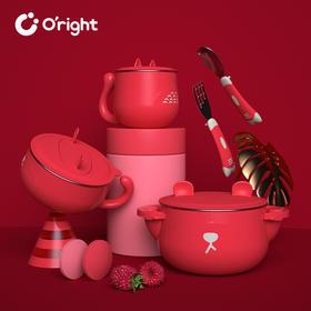oright儿童餐具套装婴儿防摔吸盘碗辅食碗宝宝吃饭碗勺注水保温碗