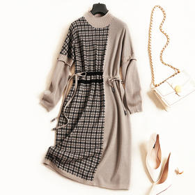 2018女装连衣裙秋冬新款立领落肩袖高腰显瘦气质通勤针织中裙C831