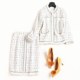 欧美时尚套装2018秋冬女装长袖上衣高腰半裙小香呢名媛裙套装7023