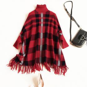 欧美时尚毛衣2018秋冬新款女装高领落肩袖宽松显瘦格纹针织衫7152