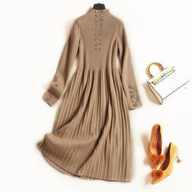 2018女装连衣裙秋冬新款立领长袖高腰修身百褶裙摆淑女裙套装C835