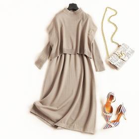 2018时尚套装秋冬女装圆领蝙蝠袖上衣修身针织裙淑女风裙套装C836