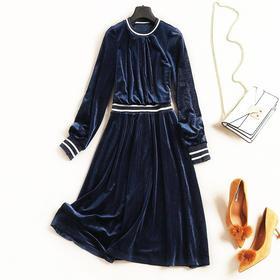 时尚休闲风连衣裙2018欧美女装秋冬新款圆领长袖高腰撞色中裙7218