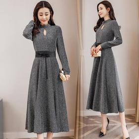 纯色韩版甜美简约修身显瘦气质长袖中长款套头连衣裙 CS-YKX9912