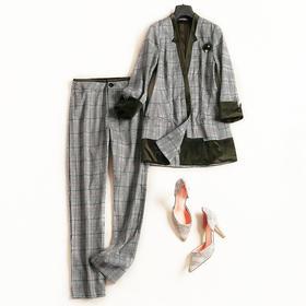 2018时尚套装秋冬新款女装长袖上衣高腰格纹九分裤通勤裤套装7087
