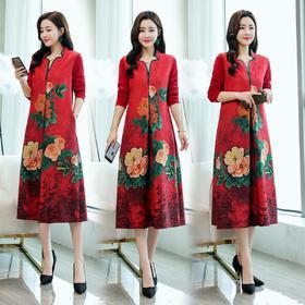 长袖印花修身显瘦潮流时尚优雅舒适口袋甜美连衣裙 CQ-YQH332