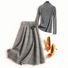 时尚套装2018女装秋冬新款立领长袖打底衫格纹半裙通勤裙套装7180