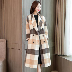 中长款韩版宽松格子加厚呢子西装领款毛呢外套 CS-YKX9985