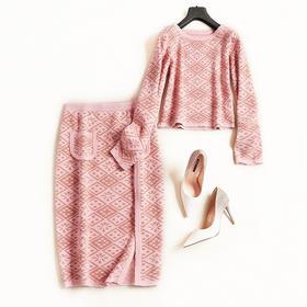 时尚套装2018秋冬女装圆领长袖短款上衣高腰半身裙针织裙套装7157