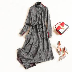 2018女装连衣裙秋冬新款高领长袖高腰显瘦格纹气质通勤中长裙6941