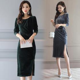 拉链中腰圆领一步裙长袖中长款褶皱印花纯色灯芯绒 CS-YIZX5086