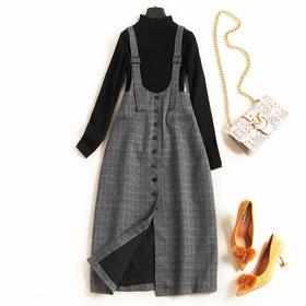 气质通勤连衣裙2018秋冬女装格纹背带裙立领长袖打底衫裙套装7031