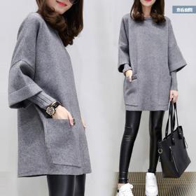 新款宽松中长款长袖毛衣女假两打底针织衫 CQ-YHY601768