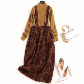 2018时尚套装秋冬女装半高领长袖打底衫高腰背带裙淑女裙套装7196