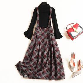 2018套装欧美女装秋冬新款喇叭袖打底衫格纹背带裙淑女裙套装6965