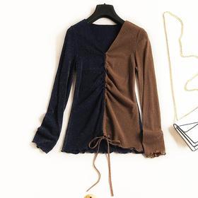 欧美时尚T恤2018秋冬新女款抽绳V领长袖修身撞色休闲风针织衫C820