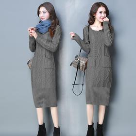 铅笔裙长裙长袖圆领纯色针织维纶连衣裙时尚 CQ-YHY85F88