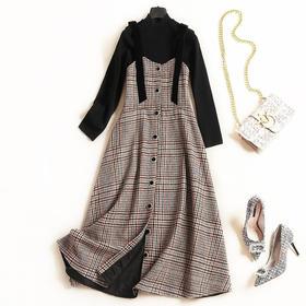 2018女装连衣裙秋冬新款立领长袖打底衫格纹背带裙淑女裙套装7111