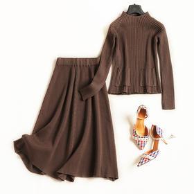 欧美套装2018秋冬女装新款立领长袖针织衫高腰半裙淑女裙套装7065
