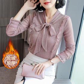 AHM58060aqe秋季款韩版时尚长袖蝴蝶结上衣