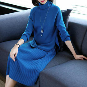 AHM69801vip新款时尚纯色针织高领气质两件套