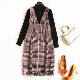 2018冬装新款女装连衣裙时尚拼接流苏两件套格纹打底针织中裙7038