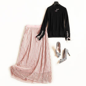 2018冬装时尚针织套装裙新款女装修身打底两件套条纹中长裙C838