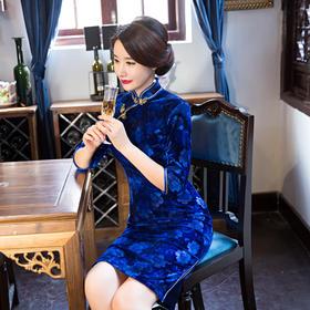时尚改良中长款中袖高档丝绒旗袍 ZA-453