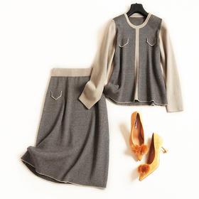 2018时尚套装秋冬新款女装圆领长袖针织衫高腰半裙通勤裙套装6962