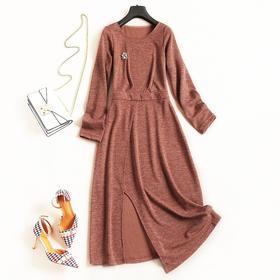 针织连衣裙2018秋冬新款女装圆领长袖高腰纯色欧美简约风长裙7061