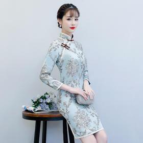 时尚提花双层旗袍日常小清新改良九分袖旗袍裙 ZA-雅典
