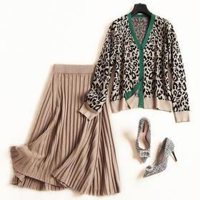 时尚套装2018秋冬新款女装V领长袖上衣高腰半身裙淑女裙套装6939