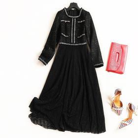 2018女装连衣裙秋冬新款圆领长袖高腰显瘦欧美时尚OL通勤长裙7075